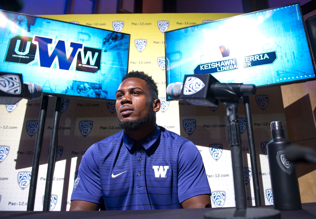. Washington Keishawn Bierria, (LB), addresses the media during Pac-12 Football Media Days event at the Hollywood and Highland Entertainment Center in Hollywood on Wednesday, July 26, 2017. (Photo by Ed Crisostomo, Los Angeles Daily News/SCNG)