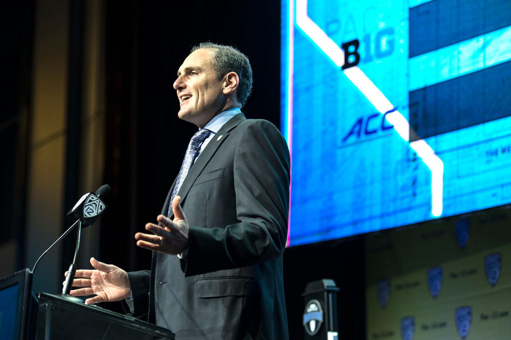 . Pac-12 Commissioner Larry Scott addresses the media during Pac-12 Football Media Days event at the Hollywood and Highland Entertainment Center in Hollywood on Wednesday, July 26, 2017. (Photo by Ed Crisostomo, Los Angeles Daily News/SCNG)