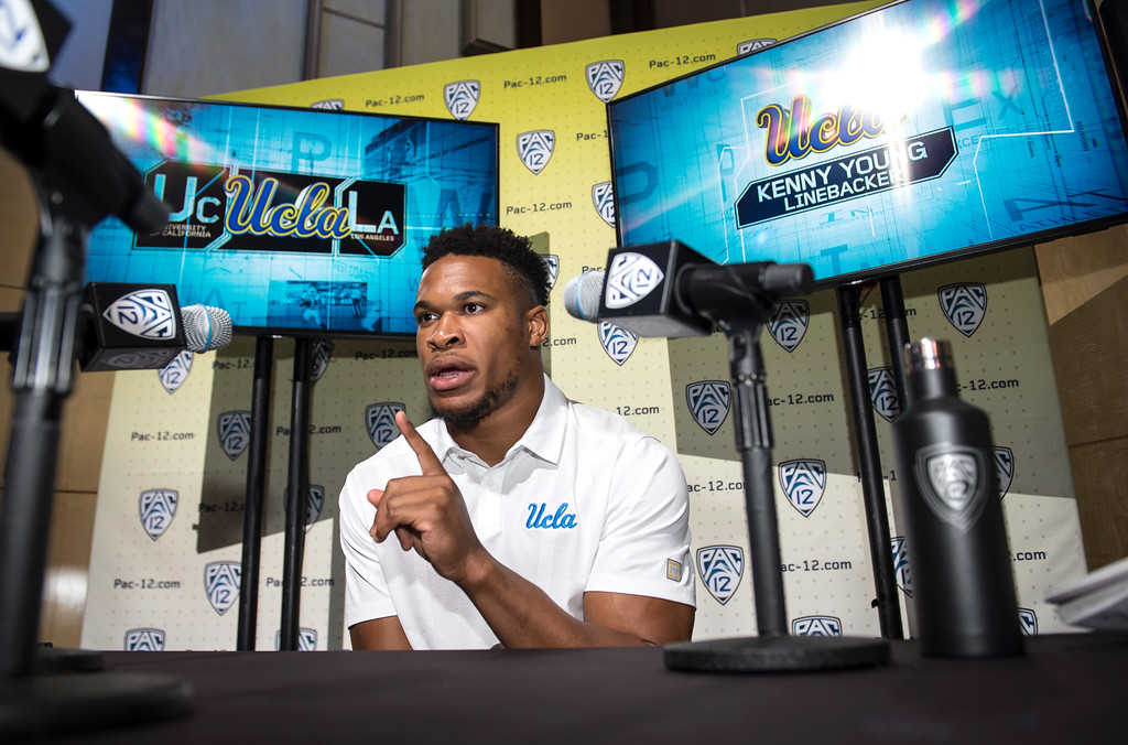 . UCLA Kenny Young, (LB), addresses the media during Pac-12 Football Media Days event at the Hollywood and Highland Entertainment Center in Hollywood on Wednesday, July 26, 2017. (Photo by Ed Crisostomo, Los Angeles Daily News/SCNG)