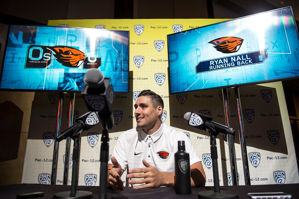 . Oregon State Ryan Nall, (RB), addresses the media during Pac-12 Football Media Days event at the Hollywood and Highland Entertainment Center in Hollywood on Wednesday, July 26, 2017. (Photo by Ed Crisostomo, Los Angeles Daily News/SCNG)