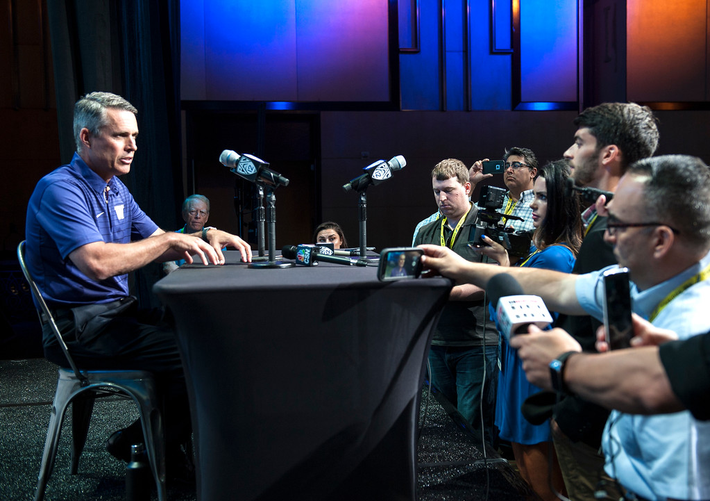 . Washington head coach Chris Petersen addresses the media during Pac-12 Football Media Days event at the Hollywood and Highland Entertainment Center in Hollywood on Wednesday, July 26, 2017. (Photo by Ed Crisostomo, Los Angeles Daily News/SCNG)