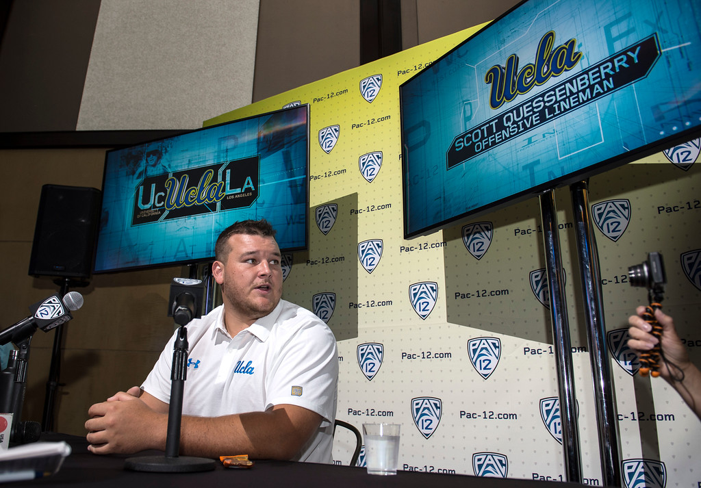 . UCLA Scott Quessenberry, (OT), addresses the media during Pac-12 Football Media Days event at the Hollywood and Highland Entertainment Center in Hollywood on Wednesday, July 26, 2017. (Photo by Ed Crisostomo, Los Angeles Daily News/SCNG)
