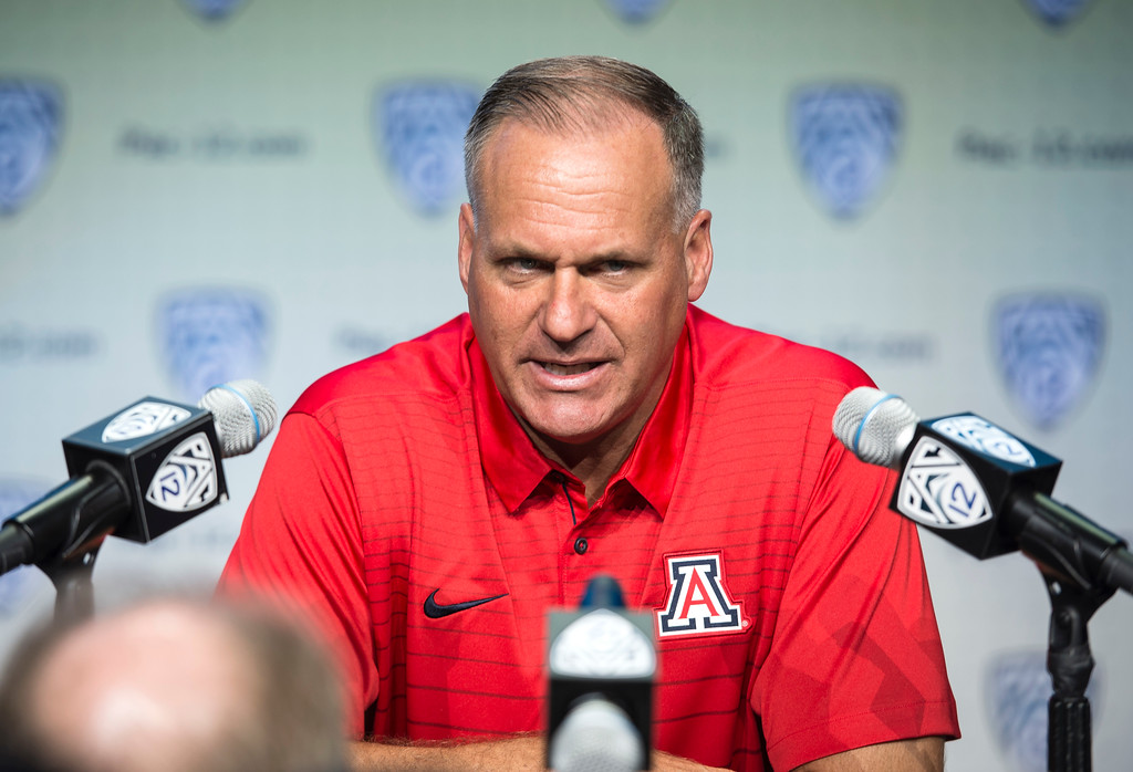 . Arizona head coach Rich Rodriguez addresses the media during Pac-12 Football Media Days event at the Hollywood and Highland Entertainment Center in Hollywood on Wednesday, July 26, 2017. (Photo by Ed Crisostomo, Los Angeles Daily News/SCNG)