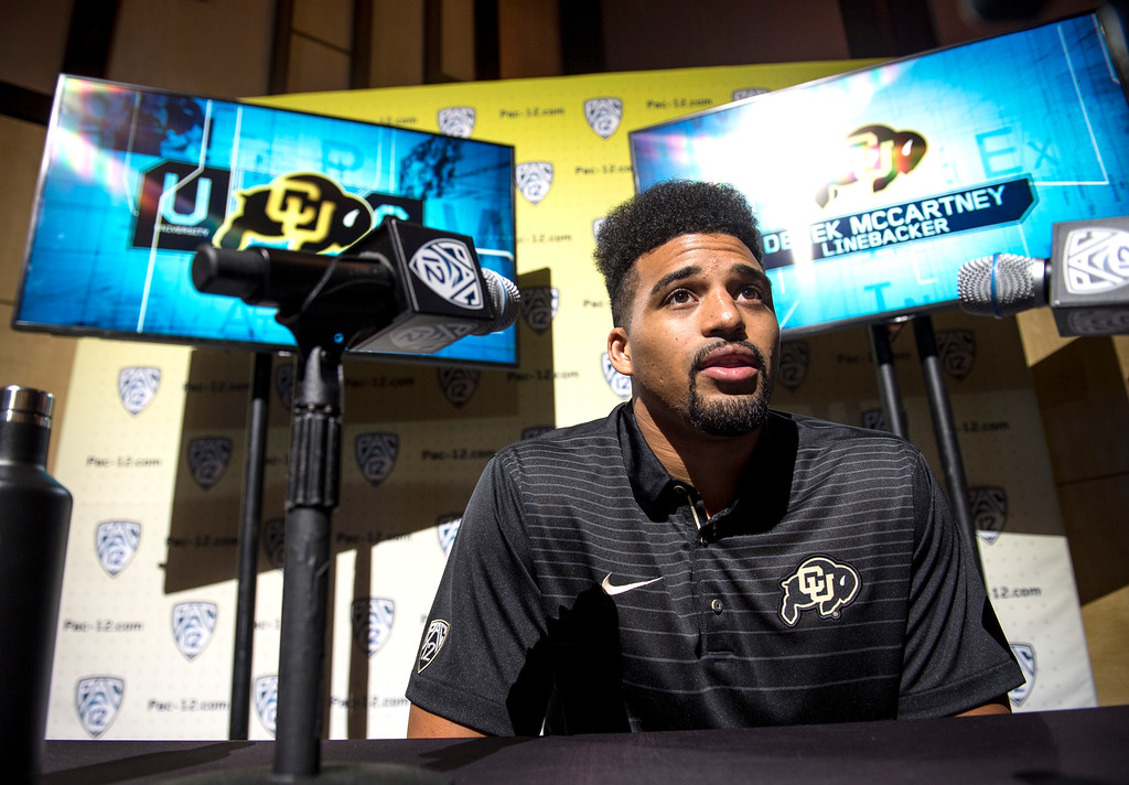 . Colorado Derek McCartney, (LB), addresses the media during Pac-12 Football Media Days event at the Hollywood and Highland Entertainment Center in Hollywood on Wednesday, July 26, 2017. (Photo by Ed Crisostomo, Los Angeles Daily News/SCNG)