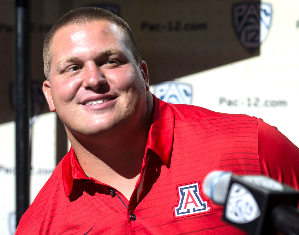 . Arizona Luca Bruno, (DL), addresses the media during Pac-12 Football Media Days event at the Hollywood and Highland Entertainment Center in Hollywood on Wednesday, July 26, 2017. (Photo by Ed Crisostomo, Los Angeles Daily News/SCNG)