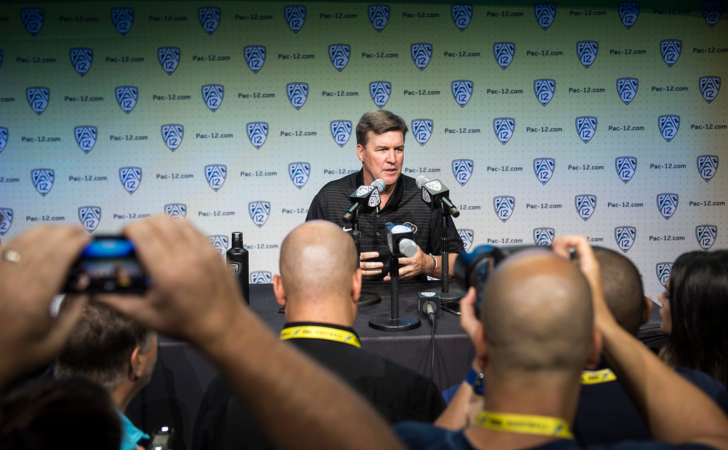 . Colorado head coach Mike MacIntyre addresses the media during Pac-12 Football Media Days event at the Hollywood and Highland Entertainment Center in Hollywood on Wednesday, July 26, 2017. (Photo by Ed Crisostomo, Los Angeles Daily News/SCNG)