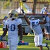 UCLA's Damian Alloway, right, stretches for a catch during practice on Wednesday, August 17, 2016 at California State University San Bernardino in San Bernardino, Ca. (Micah Escamilla/The Sun, SCNG)