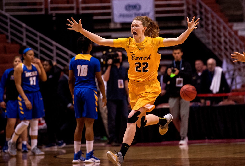 . Long Beach State forward Madison Montgomery runs across the court as she celebrates the 49ers victory over UC Santa Barbara in the final of the Big West Women\'s Tournament in Anaheim on Saturday, March 11, 2017. (Photo by Paul Rodriguez, Orange County Register/SCNG)