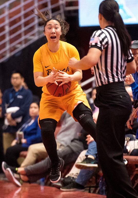 . Long Beach State guard Anna Kim attempts to call time out   with seconds left on the clock in the final of the Big West Women\'s Tournament against UC Santa Barbara in Anaheim on Saturday, March 11, 2017. (Photo by Paul Rodriguez, Orange County Register/SCNG)