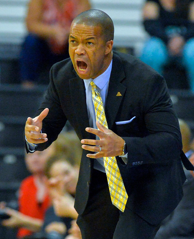 . CSUN coach Jason Flowers gets animated as he tries to rally his players in Long Beach, CA on Wednesday, March 8, 2017. CSUN beat Hawaii 71-64 in the quarterfinals  of the Big West Women\'s Basketball Tournament at the Walter Pyramid. (Photo by Scott Varley, Daily Breeze/SCNG)