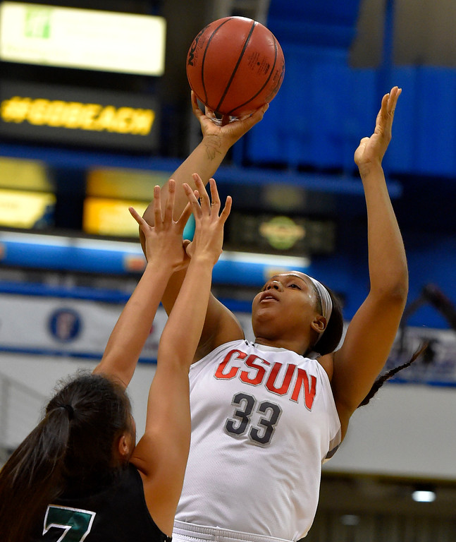 . CSUN�s Channon Fluker puts up 2 of her 39 points in Long Beach, CA on Wednesday, March 8, 2017. CSUN vs Hawaii in the quarterfinals  of the Big West Women\'s Basketball Tournament at the Walter Pyramid. (Photo by Scott Varley, Daily Breeze/SCNG)