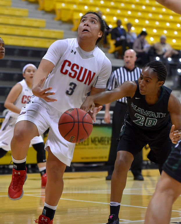 . CSUN�s Serafina Maulupe is fouled on a layup by Hawaii�s Olivia Crawford in Long Beach, CA on Wednesday, March 8, 2017. CSUN vs Hawaii in the quarterfinals  of the Big West Women\'s Basketball Tournament at the Walter Pyramid. (Photo by Scott Varley, Daily Breeze/SCNG)