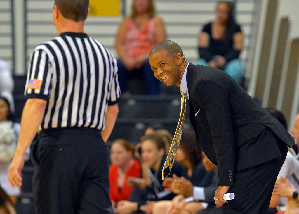 . CSUN coach Jason Flowers has a conversation with a referee in Long Beach, CA on Wednesday, March 8, 2017. CSUN beat Hawaii 71-64 in the quarterfinals  of the Big West Women\'s Basketball Tournament at the Walter Pyramid. (Photo by Scott Varley, Daily Breeze/SCNG)