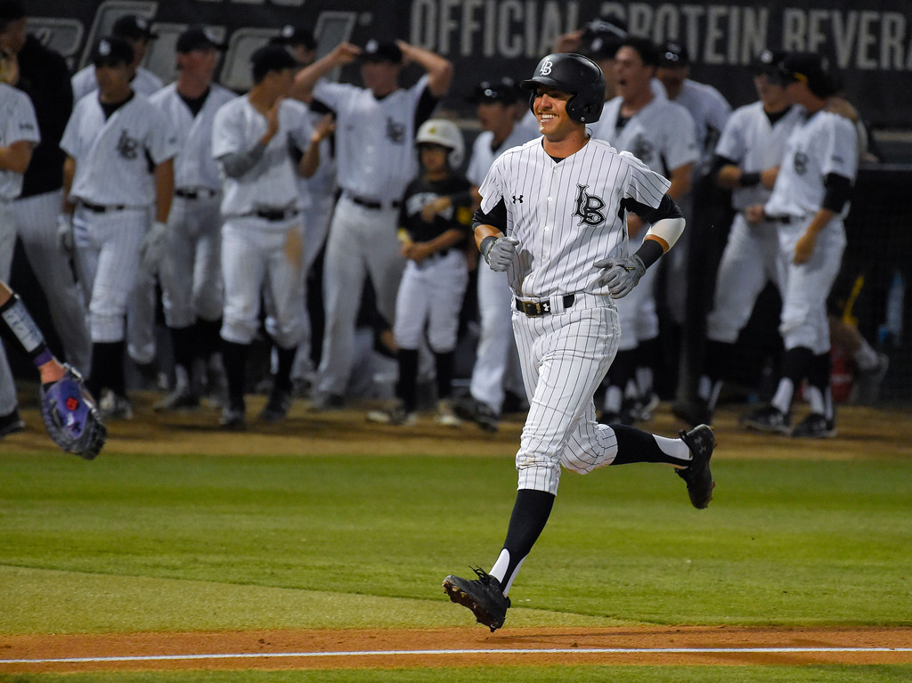 . LBSU�s Ramsey Romano is all smiles as the trots home after hitting a 4th inning solo homer in Long Beach, CA on Tuesday, March 14, 2017. LBSU Dirtbags baseball vs TCU at Blair Field. (Photo by Scott Varley, Press-Telegram/SCNG)