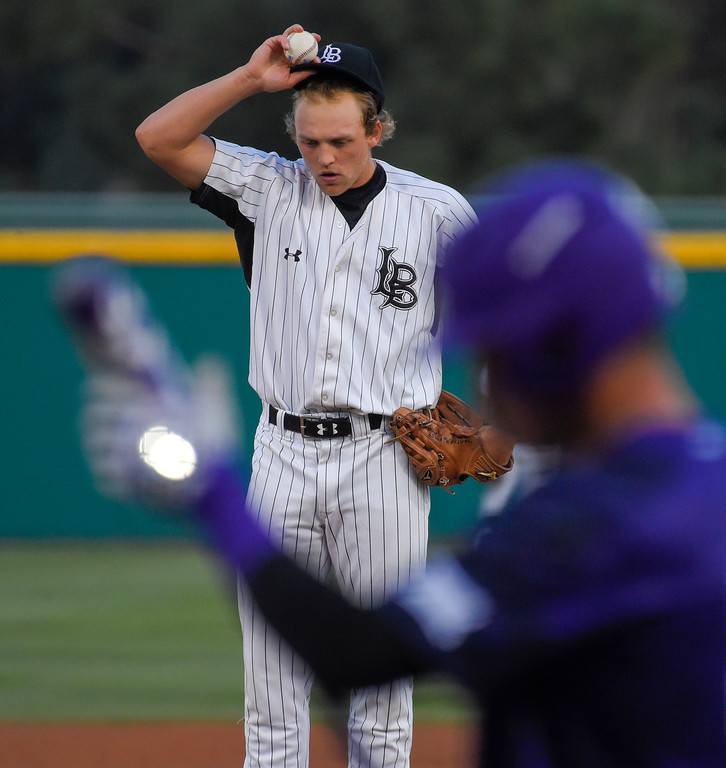 . LBSU pitcher AJ Jones gets settled to pitch to a TCU batter in Long Beach, CA on Tuesday, March 14, 2017. LBSU Dirtbags baseball vs TCU at Blair Field. (Photo by Scott Varley, Press-Telegram/SCNG)