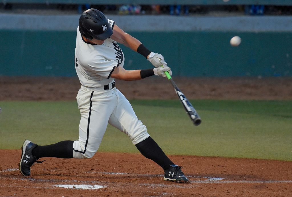 . LBSU�s Lucas Trancas connects for an RBI double in the 3rd inning in Long Beach on Thursday, April 13, 2017. LBSU vs CSU Northridge baseball. (Photo by Scott Varley, Press-Telegram/SCNG)