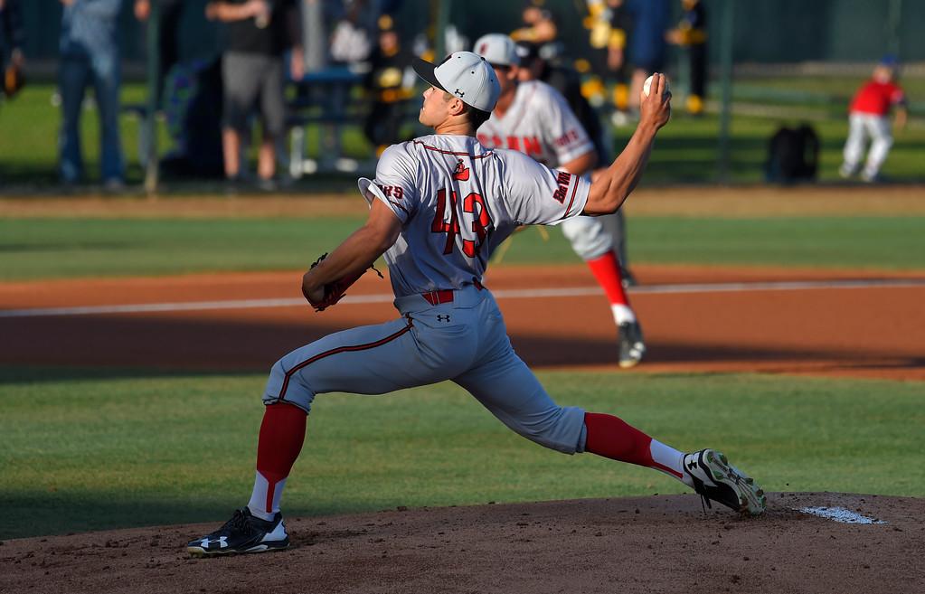 . CSUN starting pitcher Tei Vanderford in Long Beach on Thursday, April 13, 2017. LBSU vs CSU Northridge baseball. (Photo by Scott Varley, Press-Telegram/SCNG)