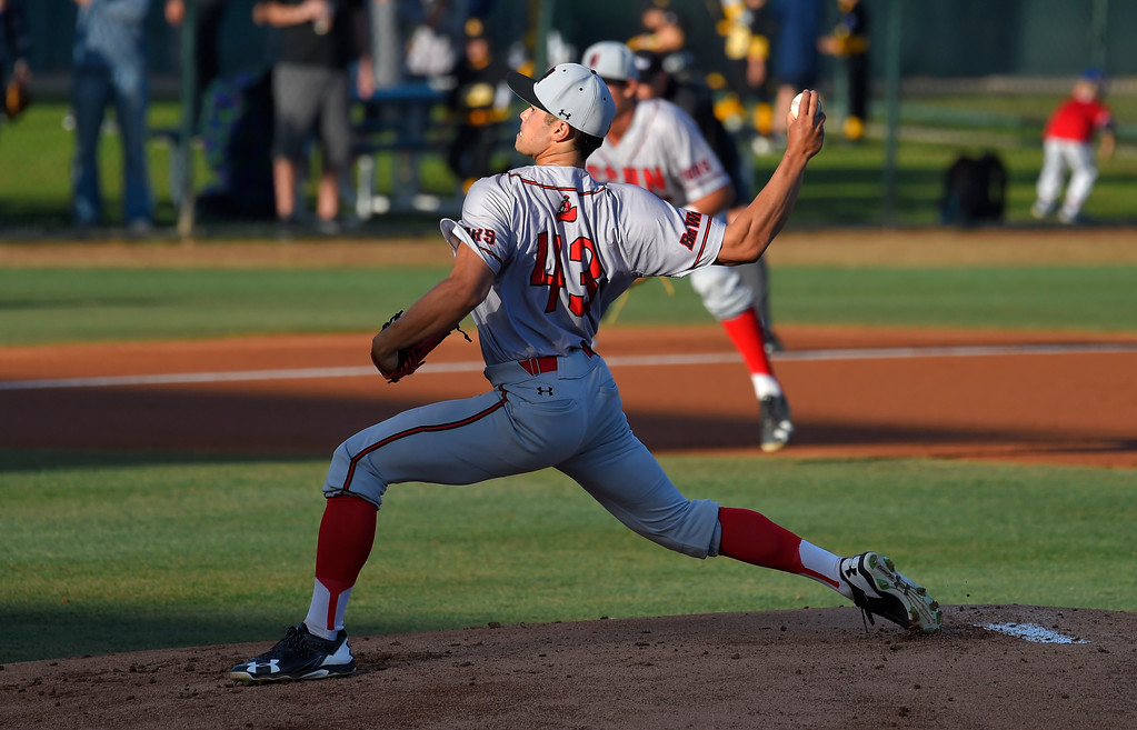 . CSUN starting pitcher Tei Vanderford in Long Beach on Thursday, April 13, 2017. LBSU vs CSU Northridge baseball. (Photo by Scott Varley, Press-Telegram/SCNG)