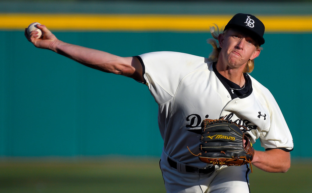 . Darren McCaughan pitches for LBSU in the 1st inning in Long Beach on Thursday, April 13, 2017. LBSU vs CSU Northridge baseball. (Photo by Scott Varley, Press-Telegram/SCNG)