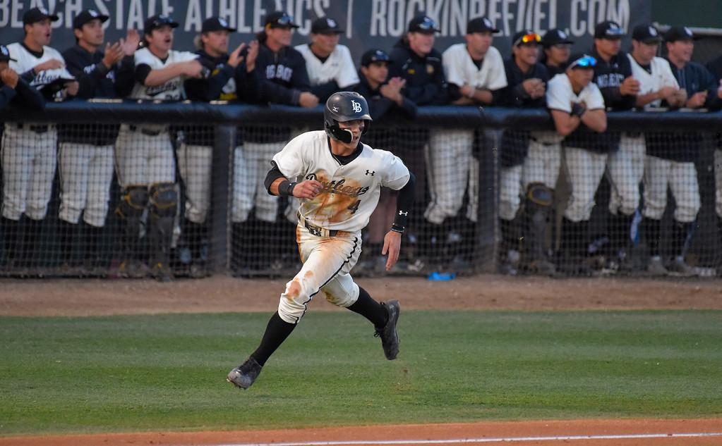 . LBSU�s Jarren Duran scores on a hit by Lucas Tancas in Long Beach on Thursday, April 13, 2017. LBSU vs CSU Northridge baseball. (Photo by Scott Varley, Press-Telegram/SCNG)