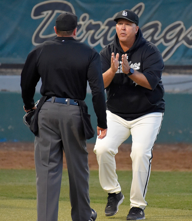 . LBSU coach Troy Buckley questions home plate umpire Carl Coles after a called strike out in Long Beach on Thursday, April 13, 2017. Coles ejected Buckley for arguing the call. LBSU vs CSU Northridge baseball. (Photo by Scott Varley, Press-Telegram/SCNG)