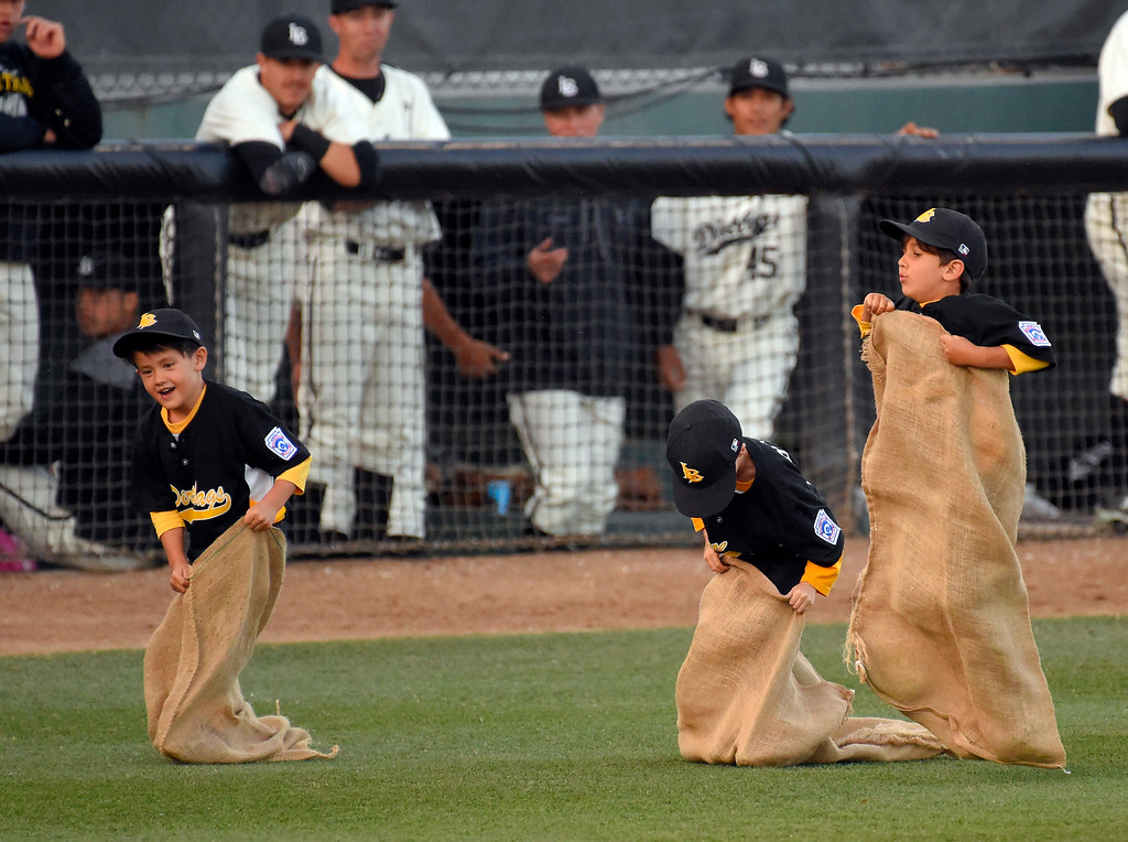 . A group of children take part in a potato sack race in between innings of a LBSU/CSUN baseball game at Blair Field in Long Beach on Thursday, April 13, 2017. (Photo by Scott Varley, Press-Telegram/SCNG)