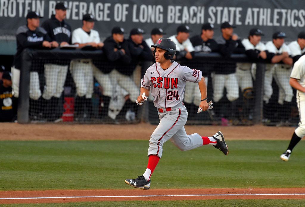 . CSUN�s Alvaro Rubalcaba scores in the 3rd inning in Long Beach on Thursday, April 13, 2017. LBSU vs CSU Northridge baseball. (Photo by Scott Varley, Press-Telegram/SCNG)