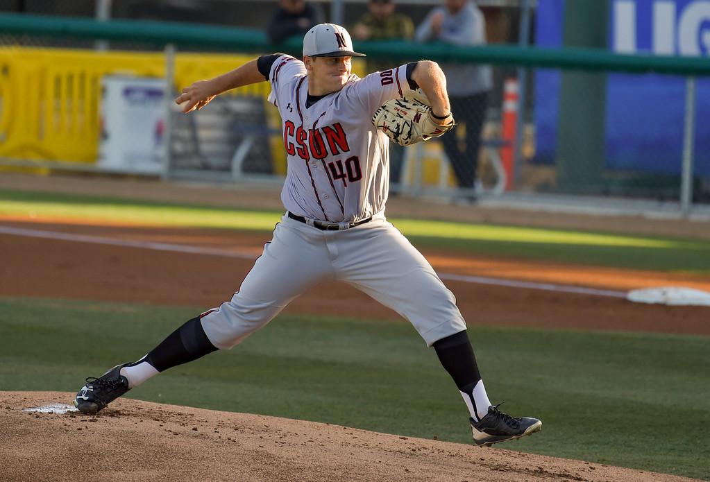 . CSUN starting pitcher Samuel Myers in Long Beach on Friday, April 14, 2017. LBSU vs CSU Northridge baseball. (Photo by Scott Varley, Press-Telegram/SCNG)