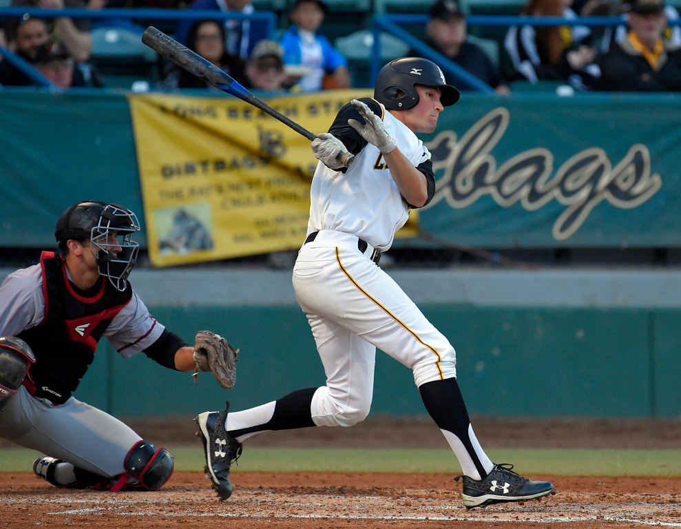 . LBSU�s Garrett Nelson connects for an RBI single in the 4th inning in Long Beach on Friday, April 14, 2017. LBSU vs CSU Northridge baseball. (Photo by Scott Varley, Press-Telegram/SCNG)