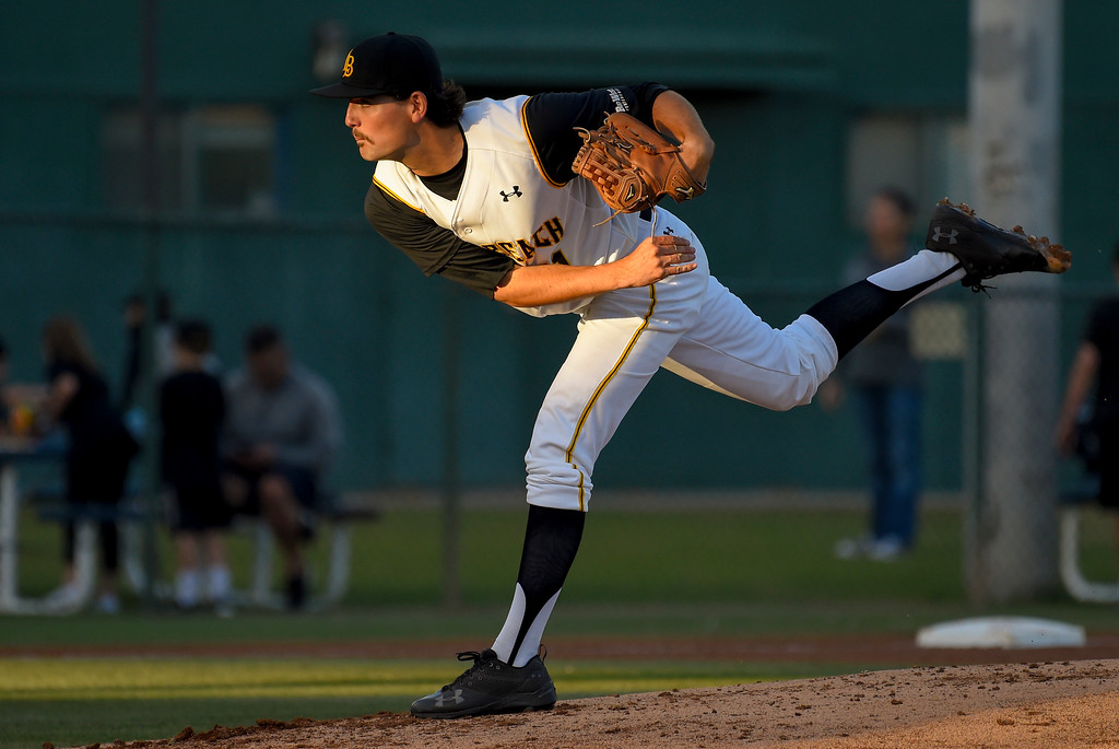 . LBSU starter John Sheaks pitches in the 3rd inning in Long Beach on Friday, April 14, 2017. LBSU vs CSU Northridge baseball. (Photo by Scott Varley, Press-Telegram/SCNG)