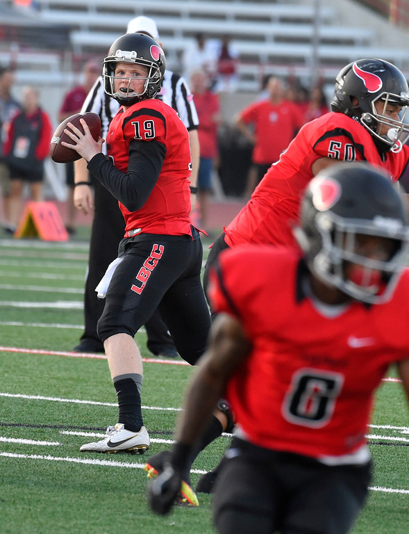 . LBCC QB Grant Lowary looks for a receiver in Long Beach on Saturday, September 9, 2017. Junior College football - Long Beach City College vs Saddleback. (Photo by Scott Varley, Press-Telegram/SCNG)