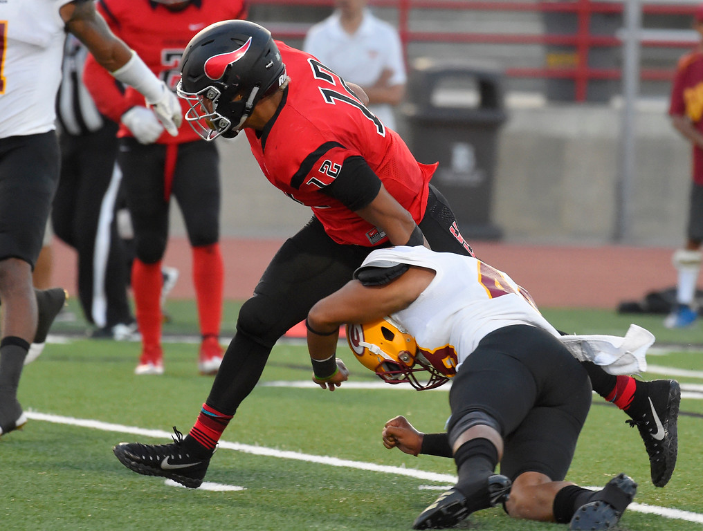. LBCC�s Elijah Bynum runs in for a first half TD in Long Beach on Saturday, September 9, 2017. Junior College football - Long Beach City College vs Saddleback. (Photo by Scott Varley, Press-Telegram/SCNG)