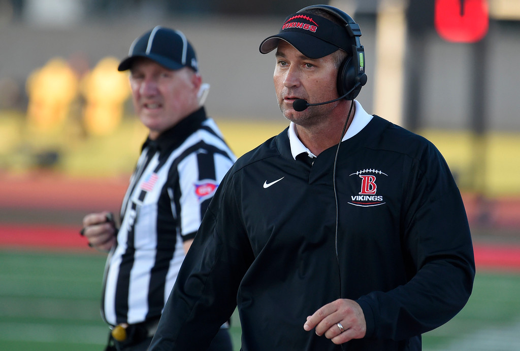 . LBCC head coach Brett Beabody walks away from a referee shortly after getting a penalty from the ref for unsportsmanlike conduct in Long Beach on Saturday, September 9, 2017. Junior College football - Long Beach City College vs Saddleback. (Photo by Scott Varley, Press-Telegram/SCNG)