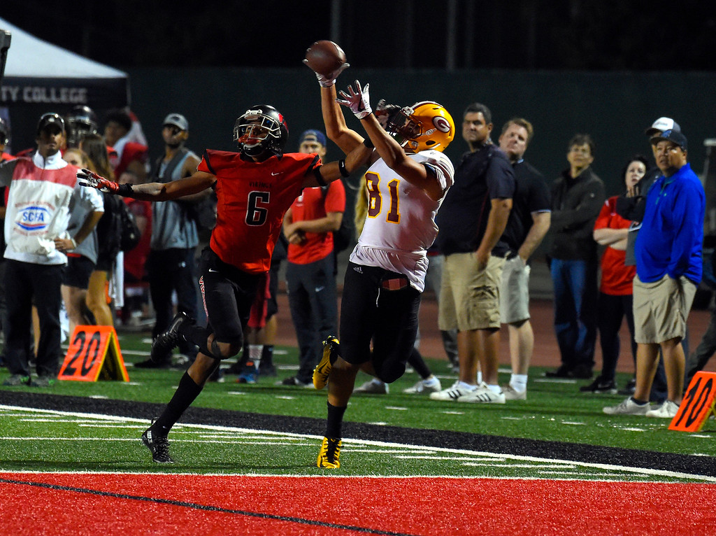 . Clinton Allen puts Saddleback in the lead for good with this TD reception as LBCC��ôs Nehemiah Shelton covers him in Long Beach on Saturday, September 9, 2017. Junior College football - Long Beach City College vs Saddleback. Saddleback won 45-35. (Photo by Scott Varley, Press-Telegram/SCNG)