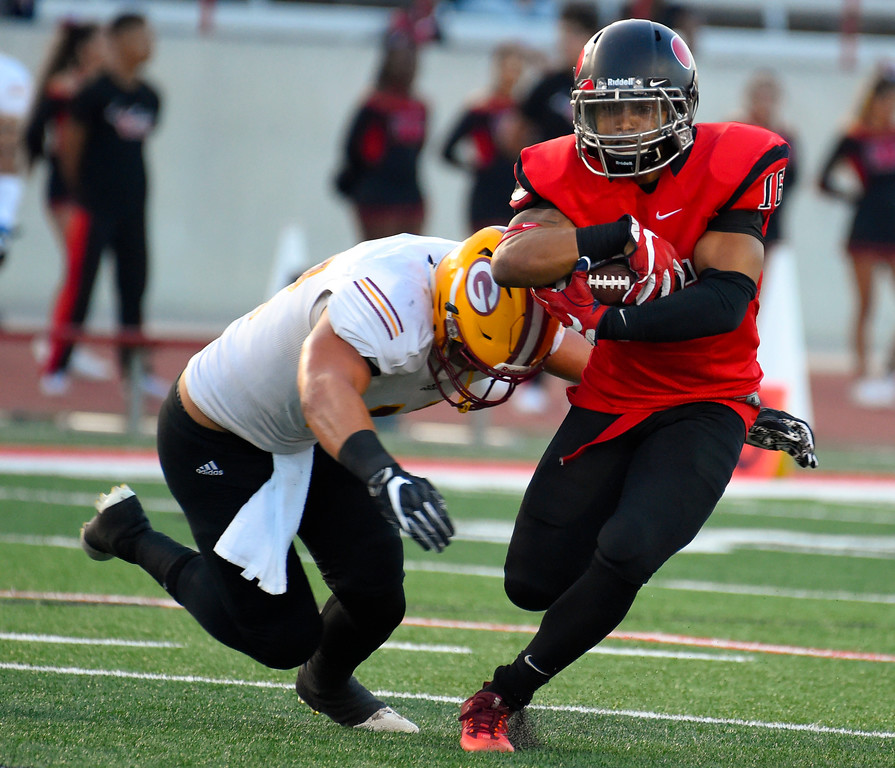 . LBCC�s Damion Gatlin gets stopped after a gain in Long Beach on Saturday, September 9, 2017. Junior College football - Long Beach City College vs Saddleback. (Photo by Scott Varley, Press-Telegram/SCNG)