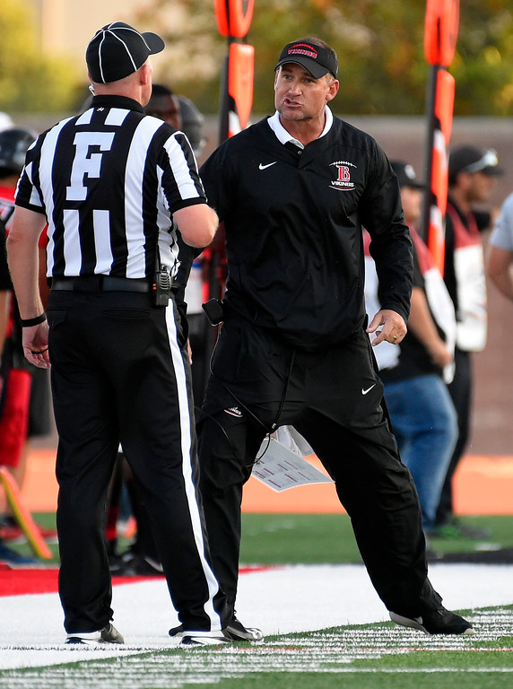 . LBCC head coach argues a call with the field judge, earning Peabody with an unsportsmanlike penalty in Long Beach on Saturday, September 9, 2017. Junior College football - Long Beach City College vs Saddleback. (Photo by Scott Varley, Press-Telegram/SCNG)