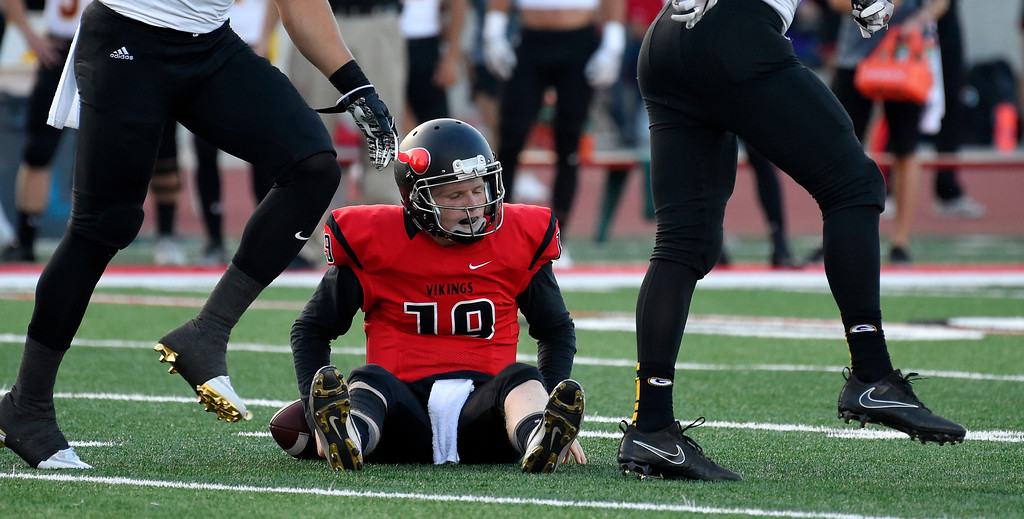 . LBCC QB Grant Lowary gets back to his feet after a sack in Long Beach on Saturday, September 9, 2017. Junior College football - Long Beach City College vs Saddleback. (Photo by Scott Varley, Press-Telegram/SCNG)