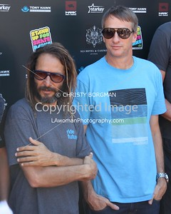 Tony Alva and Tony Hawk attending the 10th annual Stand Up For Skateparks benefit