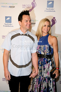 Mark Hoppus (Blink-182) and his wife Skye Everly arrive at the Surfrider Foundation's 25th Anniversary Gala on Ocotber 9, 2009 at the California Science Center's Wallis Annenberg Building.  Mark hosted the event.