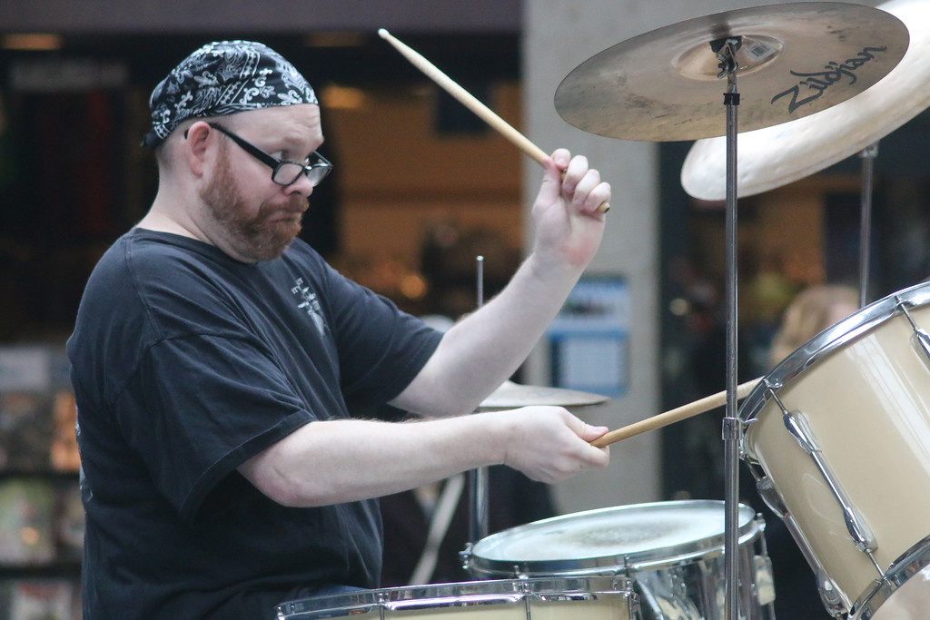 . A drummer plays for the crowd at Deepwood Idol April 1 at Great Lakes Mall. (Jonathan Tressler/The News-Herald)
