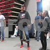 Participants gather before walking Saturday morning as part of Walk a Mile in Her Shoes at the Northern Illinois University Convocation Center.