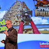 Eric Bonzar—The Morning Journal<br> Lake Erie Shores & Islands President Larry Fletcher reminds guests of the third annual State of Tourism Address, April 5, that in exactly one month they will be able to ride Cedar Point's new hybrid coaster Steel Vengeance when the park officially opens for the 2018 season.