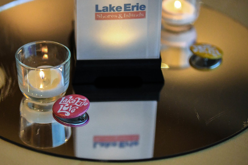 Eric Bonzar—The Morning Journal<br> Guests of the third annual State of Tourism Address, held at Kalahari, were able to take some Lake Erie love with them in the form of a lapel pin.