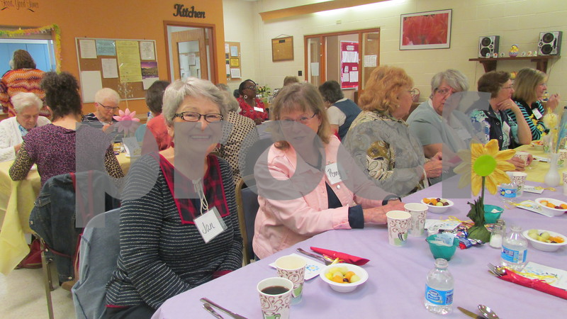 Jan Fitzhenry and Penny Rosenow, both volunteers at the Country Store, 659 E. Lincoln Highway in DeKalb, enjoy brunch Saturday at the Family Service Agency in DeKalb.
