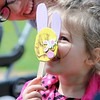 Addison Duraney, 2, Mentor shows off the bunny craft she made at the Easter Monday event <br /> Kristi Garabrandt - The News-Herald