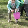 Analeigh Babika, 4, Westerville,  participates in the toddler Easter egg hunt during the Easter Monday event.<br /> Kristi Garabrandt