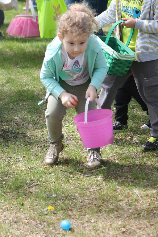 . Analeigh Babika, 4, Westerville,  participates in the toddler Easter egg hunt during the Easter Monday event. Kristi Garabrandt