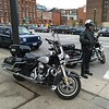 Cleveland PD motorcycle officer, West 9th and St. Clair, Science March (David S. Glasier - The News-Herald)