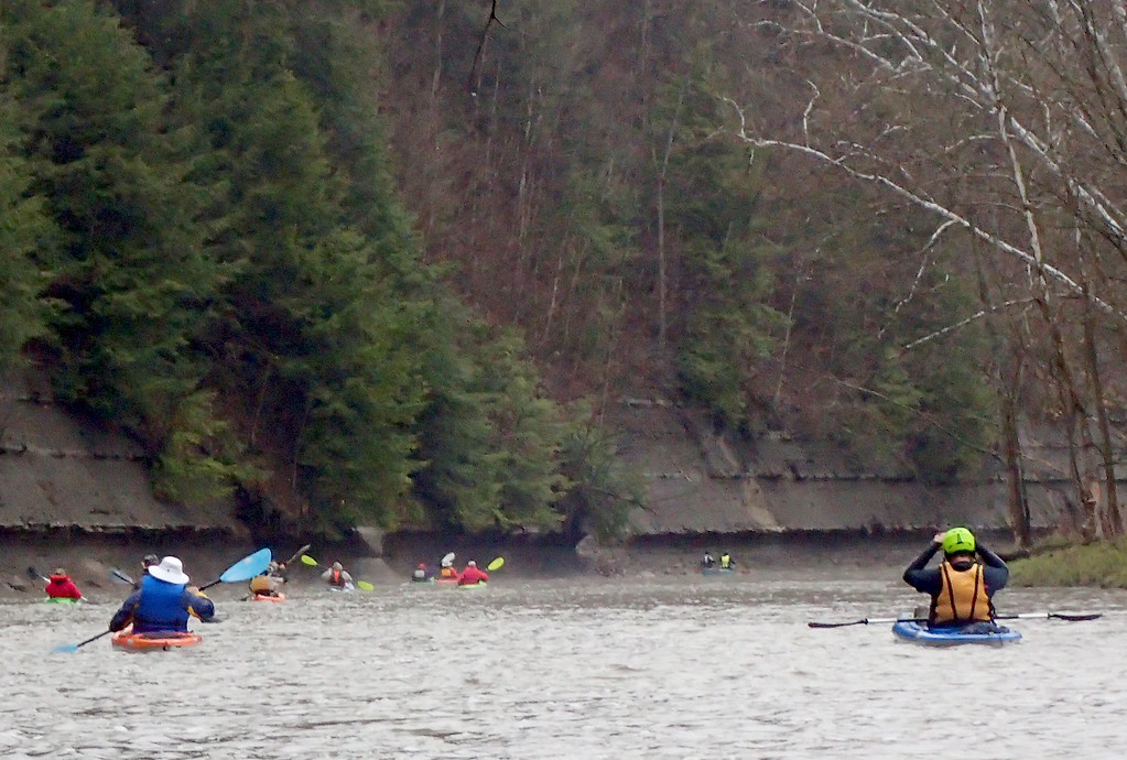 . Jonathan Tressler � The News-Herald <br> A look downstream April 28 at a half-dozen or so paddlers participating in the 2018 Grand River Canoe and Kayak Race somewhere around mile four of the roughly 8 1/2-mile course.
