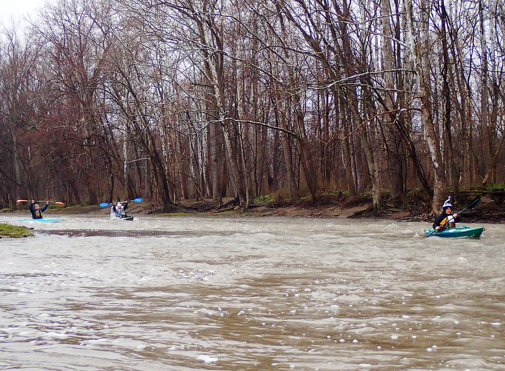 . Jonathan Tressler � The News-Herald <br> Some 2018 Grand River Canoe and Kayak Race participants proceed down the Grand River April 28 during the event�s 2018 edition, which honored the 50th anniversary of the Wild and Scenic Rivers Act.